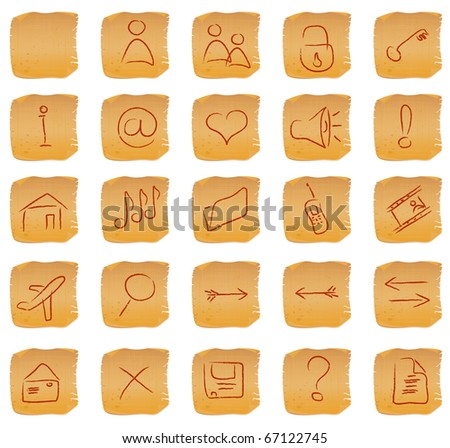 hand drawing vintage icon set at papyrus - stock vector