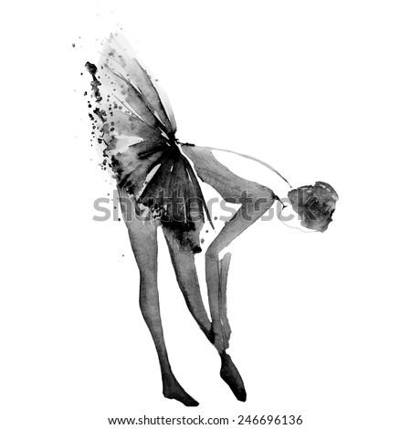 Hand drawing watercolor ballerina, vector - stock vector
