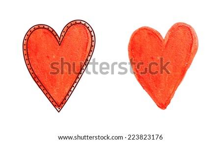 Hand drawing watercolor heart. Vector illustration. - stock vector