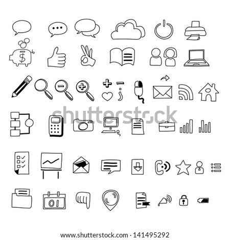 hand drawing web icon doodle sets - stock vector