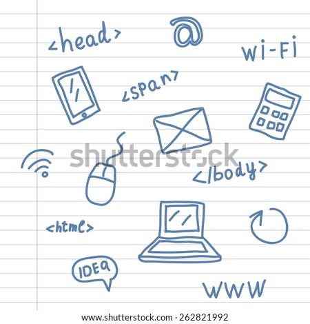 Hand drawing web symbols on notebook sheet