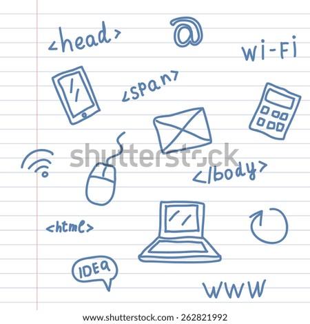 Hand drawing web symbols on notebook sheet - stock vector