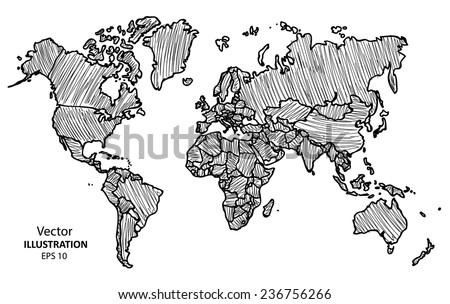 Hand drawing World Map, Vector Illustration Eps 10 - stock vector