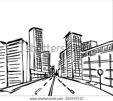 hand drawn  a  city  - stock vector