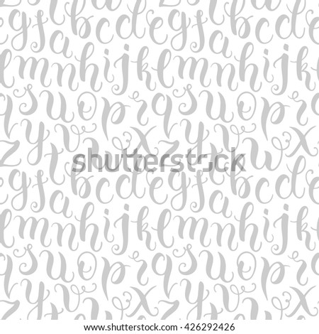 Hand drawn abc letters seamless pattern. Modern calligraphy alphabet background. Vector illustration - stock vector