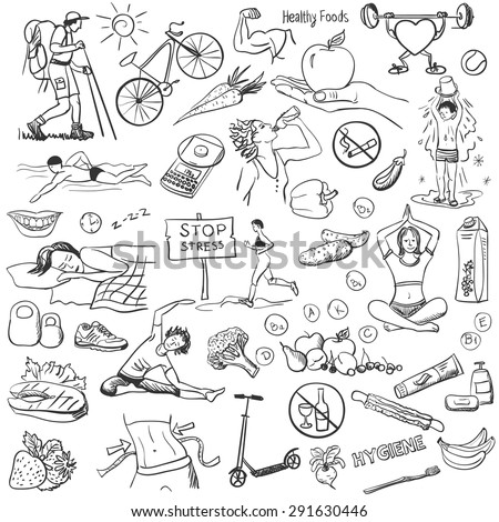 Hand drawn about healthy lifestyle on white background.. Sketches for use in design