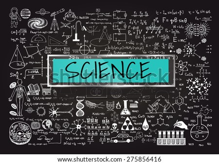 Hand drawn about Mathematics on chalkboard with the world SCIENCE in transparent frame with blue background. - stock vector