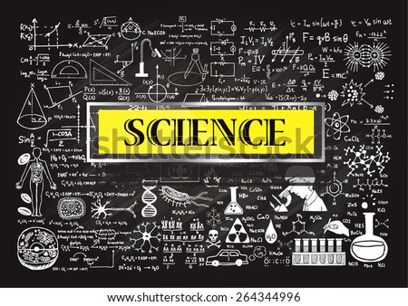 Hand drawn about Mathematics on chalkboard with the world SCIENCE in transparent frame with yellow background. - stock vector