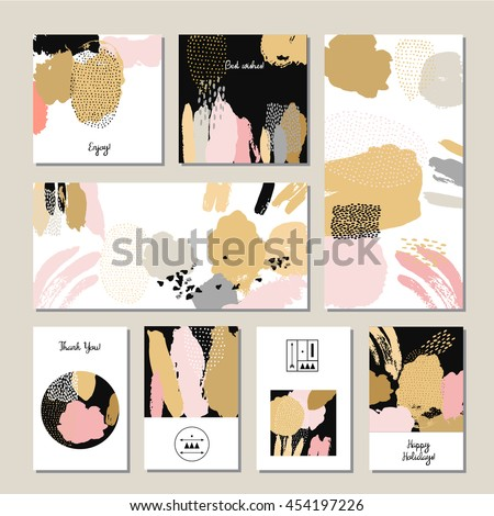 Hand drawn abstract compositions card set. Vector illustration. A set of flyers, brochures, templates design. Vintage cards with patterns and ornaments. Bright watercolor blots elements.