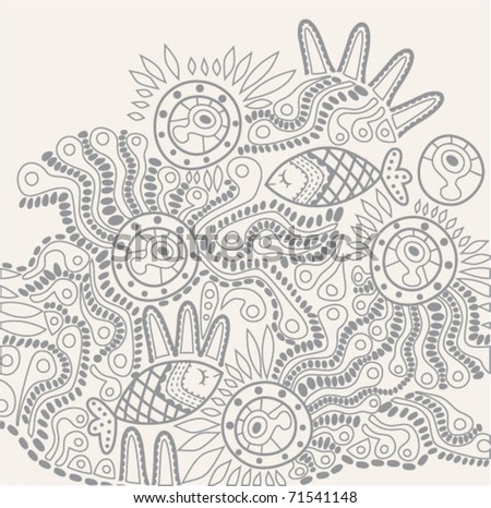 hand-drawn abstract design - stock vector
