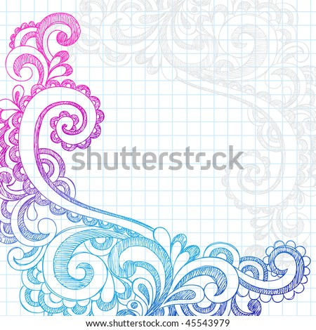 Hand-Drawn Abstract Flower Paisley Sketchy Notebook Doodles Edge Border Design Element on Lined Paper Background- Vector Illustration - stock vector