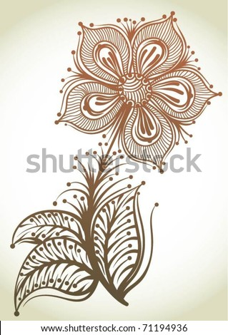 Hand-Drawn Abstract Flowers - stock vector