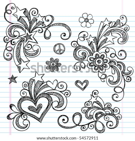 Hand-Drawn Abstract Hearts, Swirls, Flowers, and Stars Sketchy Notebook Doodles Vector Illustration Design Elements on Lined Sketchbook Paper Background - stock vector