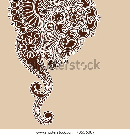 Hand-Drawn Abstract Henna Doodle Vector Illustration Design Element - stock vector