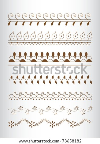 Hand-Drawn Abstract Henna India ornament element - stock vector