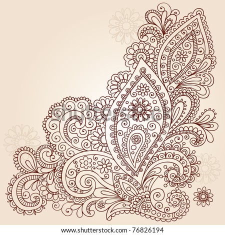 Hand-Drawn Abstract Henna Mehndi Abstract Flowers and Paisley Shaped Doodle Vector Illustration Design Elements - stock vector