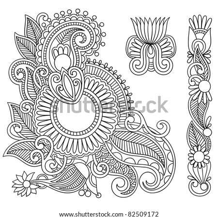 Hand drawn abstract henna mehndi black flowers doodle Illustration design element