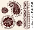 Hand-Drawn Abstract Henna Mehndi Flowers and Paisley Doodle Vector Illustration Design Elements - stock photo