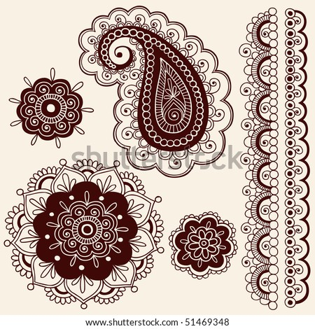 Hand-Drawn Abstract Henna Mehndi Flowers and Paisley Doodle Vector Illustration Design Elements - stock vector