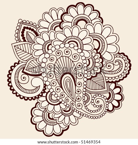 Hand-Drawn Abstract Henna Mehndi Paisley and Flowers Doodle Vector Illustration Design Elements