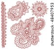 Hand-Drawn Abstract Henna (mehndi) Paisley Doodle Vector Illustration Design Elements - stock photo