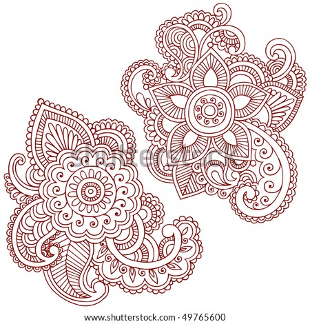 Hand-Drawn Abstract Henna (mehndi) Paisley Doodle Vector Illustration Design Elements - stock vector