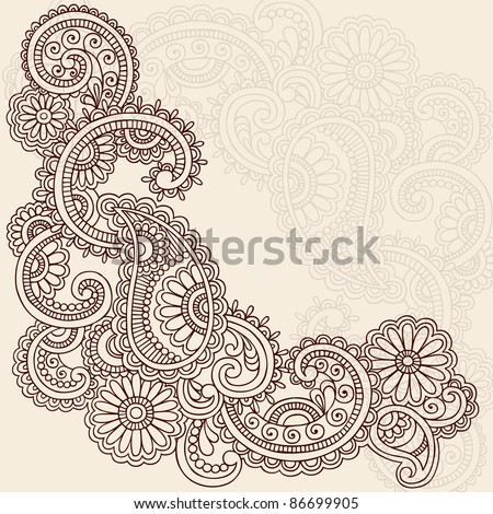 Hand-Drawn Abstract Henna Mehndi Swirls, Flowers and Paisley Doodle Vector Illustration Design Elements - stock vector