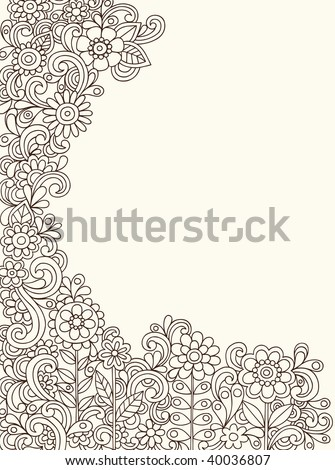 Hand-Drawn Abstract Henna Paisley Doodles and Flowers Border Design Vector Illustration - stock vector