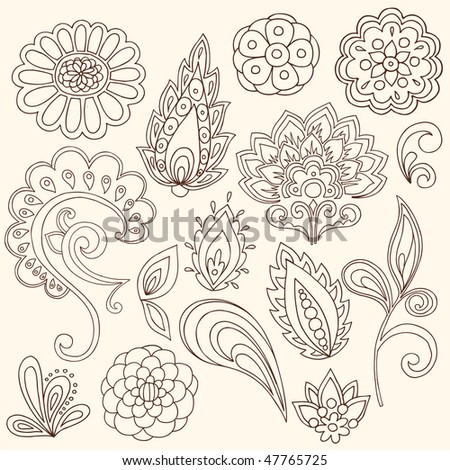 Hand-Drawn Abstract Henna Paisley Vector Illustration Doodle Design Elements - stock vector