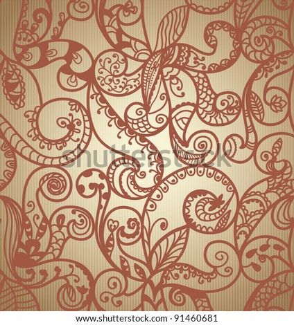 Hand-Drawn Abstract Paisley Pattern On Gradient Background