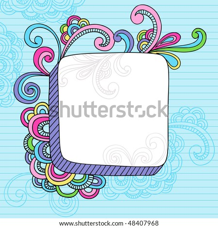 Hand-Drawn Abstract Psychedelic Notebook Doodles Design Element Frame on Lined Sketchbook Paper Background- Vector Illustration - stock vector