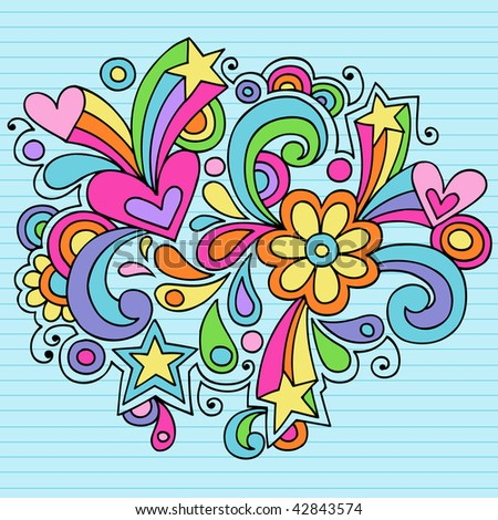 Hand-Drawn Abstract Psychedelic Notebook Doodles on Lined Paper Background- Vector Illustration