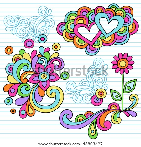 Hand-Drawn Abstract Psychedelic Notebook Doodles with Hearts and Flower on Lined Paper Background- Vector Illustration - stock vector
