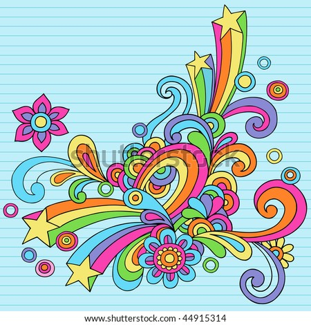 Hand-Drawn Abstract Psychedelic Rainbow Notebook Doodles Design Element on Lined Paper Background- Vector Illustration - stock vector