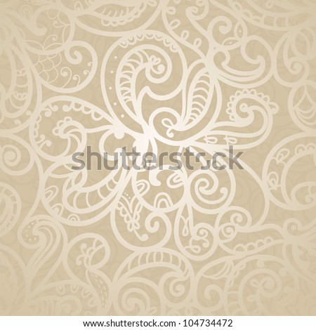 Hand-Drawn Abstract Seamless Pattern With Light Golden Curves - stock vector