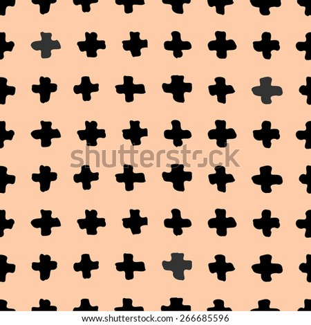 Hand drawn abstract seamless repeat pattern with cross shapes in black on a pastel pink background. - stock vector
