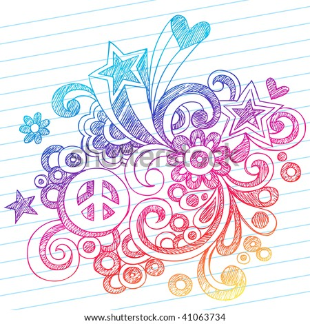 Hand-Drawn Abstract Sketchy Notebook Doodles with Peace Sign, Stars, and Hearts on Lined Notebook Paper Background- Vector Illustration - stock vector