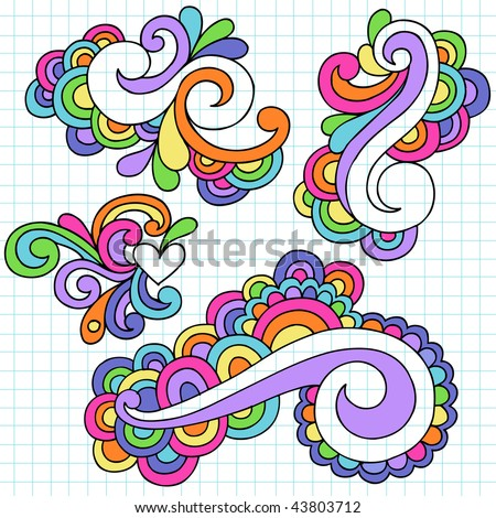 Hand-Drawn Abstract Swirls Psychedelic Notebook Doodles on Lined Paper Background- Vector Illustration - stock vector