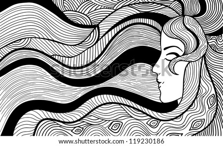 Hand drawn abstract vector illustration of beautiful long-haired woman. Black and white outline - stock vector