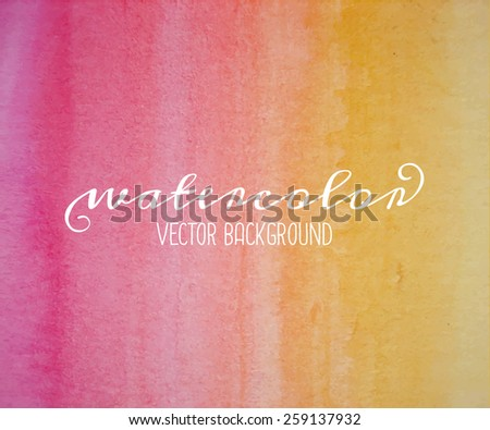 Hand drawn abstract watercolor background in yellow and red. - stock vector