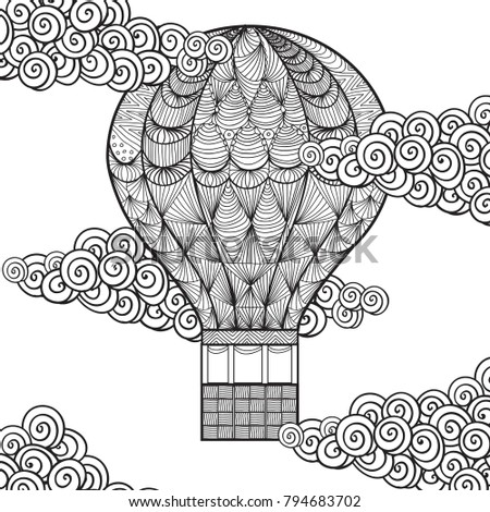 Hand Drawn Adult Coloring Page Air Balloon In Clouds Isolated On White Anti Stress