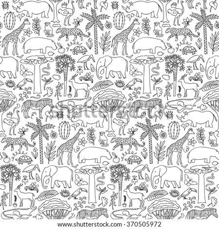 Hand drawn Africa seamless pattern. Vector illustration of seamless pattern with African animals and plants - stock vector