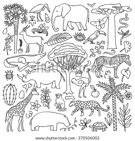 Hand drawn Africa Set. Vector illustration with African animals and plants - stock vector