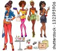 Hand drawn African American girls with phones, purses, drinks and shopping bags, dressed up young women at cocktail party and shopping , sketch - stock vector