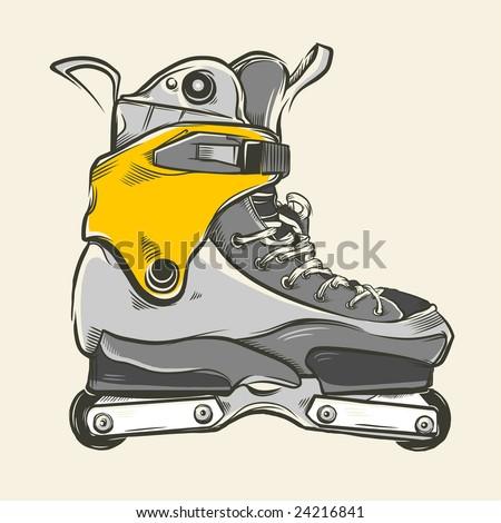 Hand-drawn aggressive inline skates. Vector illustration. - stock vector