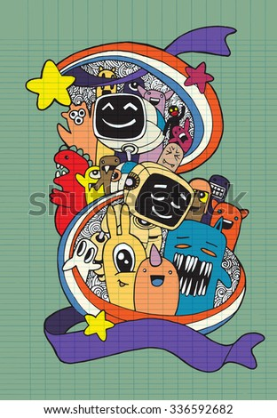 Hand drawn Aliens , Monsters and robot friendly cartoon,doodle Style .Vector Collection