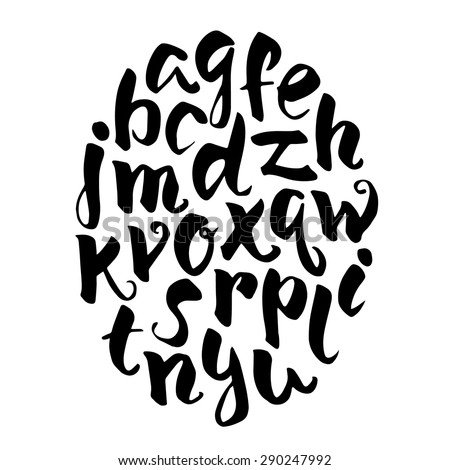 Hand drawn alphabet.Black vector letters isolated on white backgroung. - stock vector