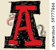 hand drawn alphabet, doodle A - stock vector