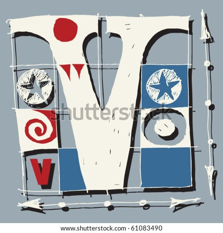 hand drawn alphabet, doodle V - stock vector