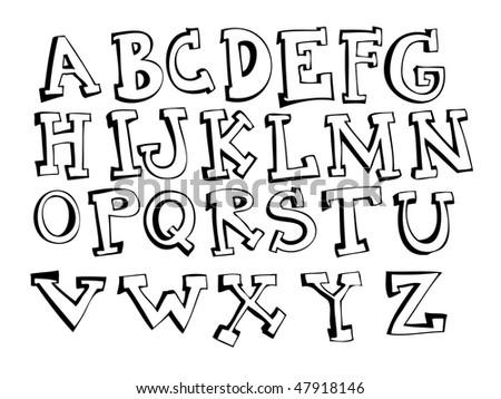 Hand Drawn Alphabet (EPS10) - stock vector